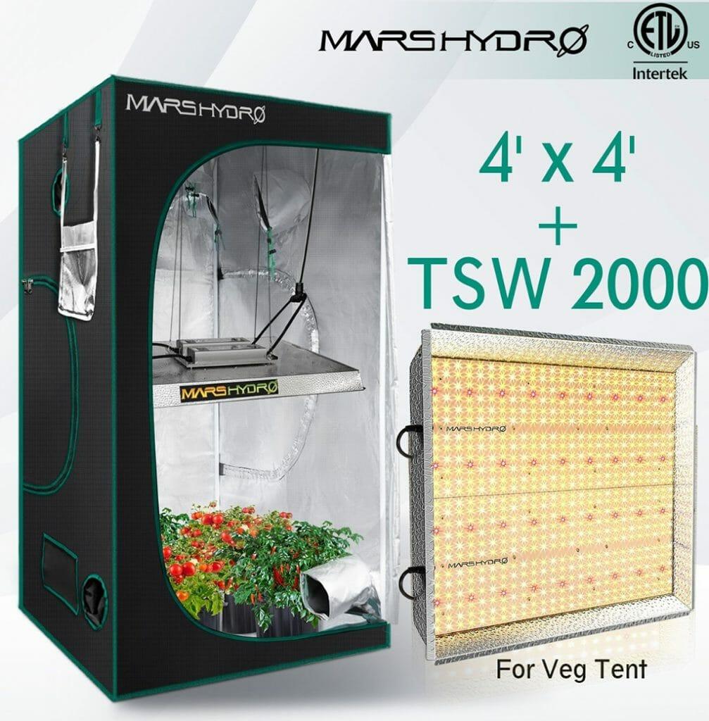 mars hydro 4' x 4' grow tent with tsw 2000 grow light