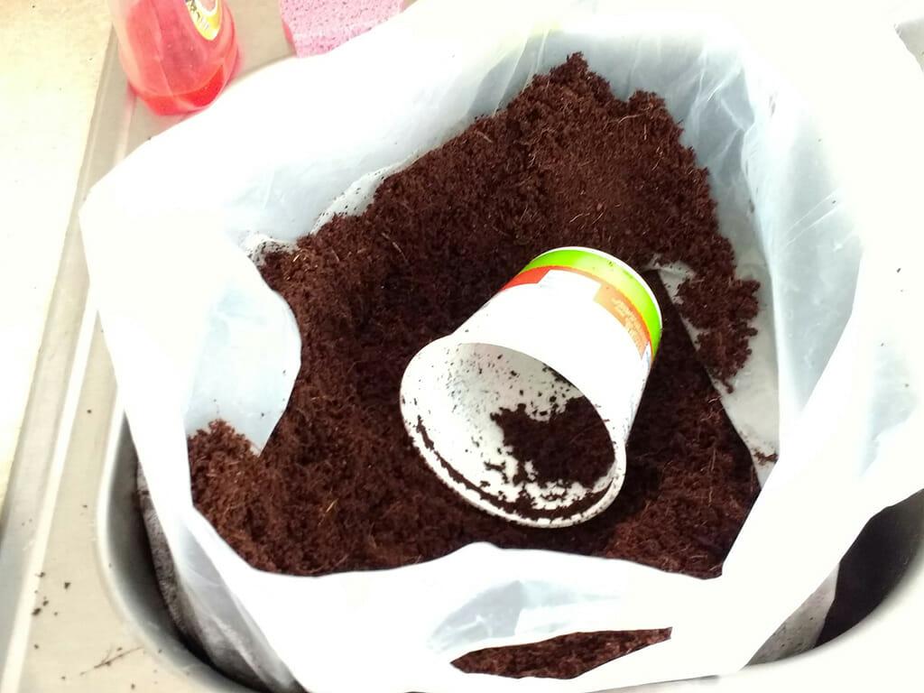 coco coir in a bucket