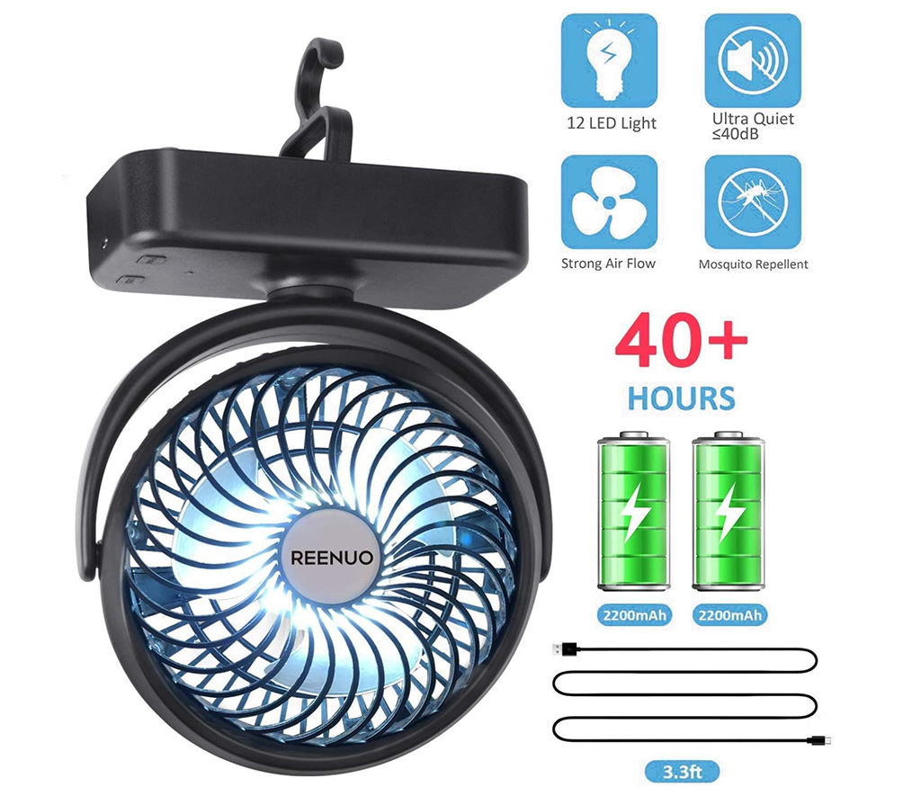 REENUO 5000mAh Camping Fan With LED Lights