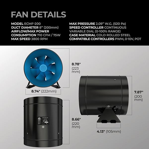 terrabloom 8 inch inline fan dimensions